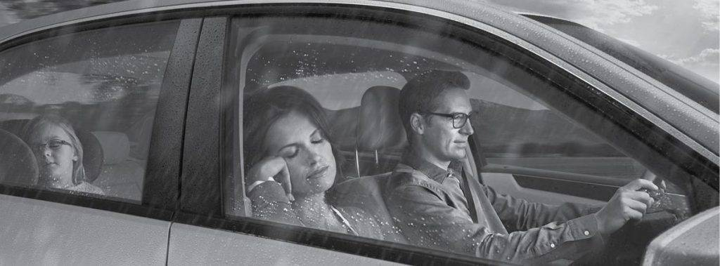 photo of family snoozing in car