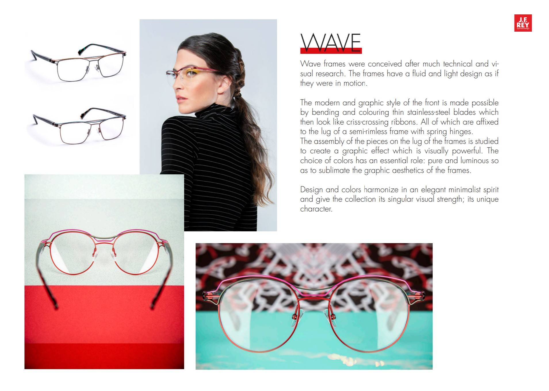 The Wave collection features designer glasses with multiple sections in contrasting colours, in full-frame and semi-rimless variants.