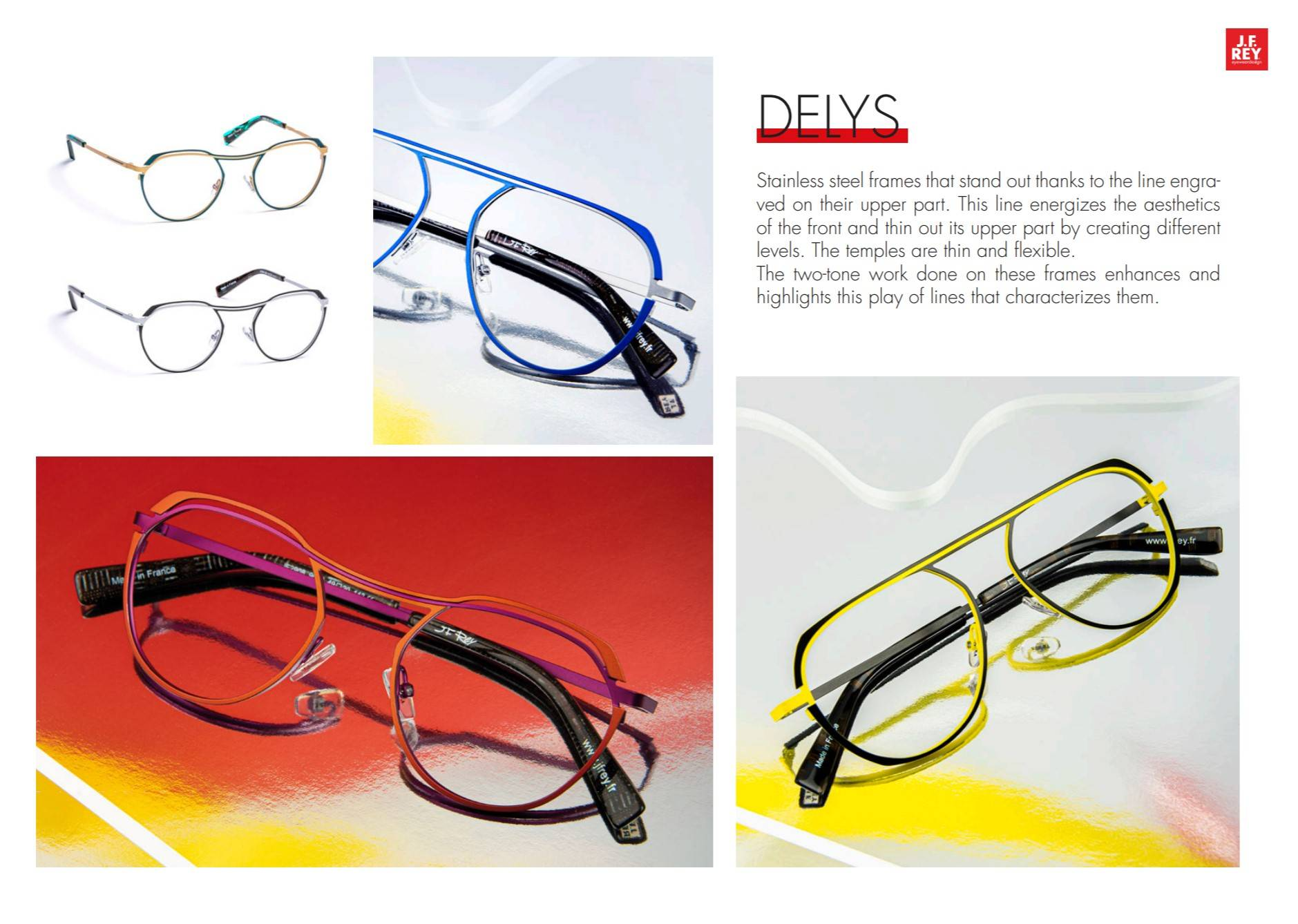Delys styles are aviator-style designer glasses with simply stunning colouration.